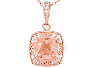 Pre-Owned Morganite Simulant And White Cubic Zirconia 18k Rose Gold Over Silver Pendant With Chain