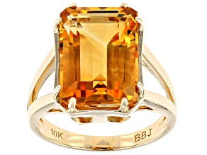 Pre-Owned Golden Citrine 10k Yellow Gold Ring