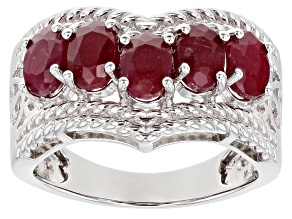 Pre-Owned Red Ruby Rhodium Over Sterling Silver Chevron Ring 3.10ctw