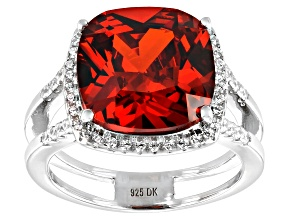 Pre-Owned Red and White Cubic Zirconia Rhodium Over Sterling Silver Ring 6.33ctw
