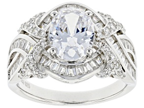 Pre-Owned White Cubic Zirconia Platinum Over Sterling Silver Ring 4.93ctw