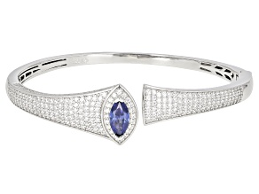 Pre-Owned Blue And White Cubic Zirconia Rhodium Over Silver Bangle 9.84ctw