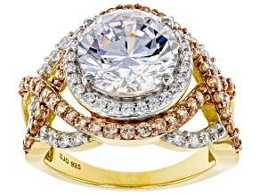 Pre-Owned Brown and White Cubic Zirconia 18K Yellow Gold Over Sterling Silver Ring 8.89ctw