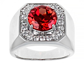 Pre-Owned Orange Lab Created Padparadscha Sapphire Rhodium Over Silver Mens Ring 4.65ctw