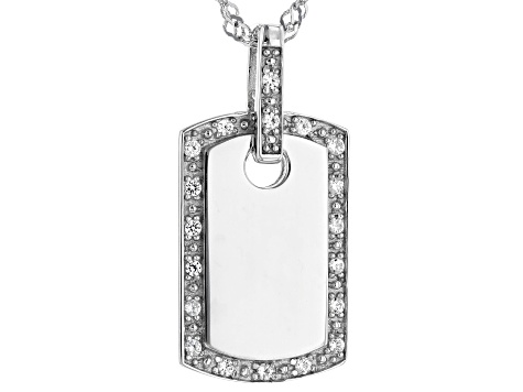 "Pre-Owned Lab Created White Sapphire Rhodium Over Sterling Silver ""Dog Tag"" Pendant With Chain .22ct"