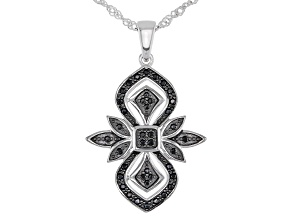 Pre-Owned Black Spinel Rhodium Over Silver Pendant With Chain .25ctw