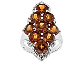Pre-Owned Hessonite Rhodium Over Sterling Silver Statement Ring 9.00ctw