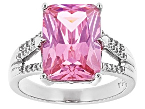 Pre-Owned Pink Cubic Zirconia Rhodium Over Sterling Silver Ring 12.55ctw