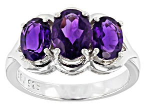 Pre-Owned Oval African amethyst rhodium over sterling silver 3-stone ring