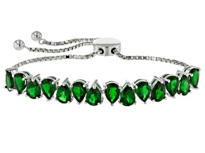 Pre-Owned Green Chrome Diopside Rhodium Over Sterling Silver Sliding Adjustable Bracelet 8.57ctw