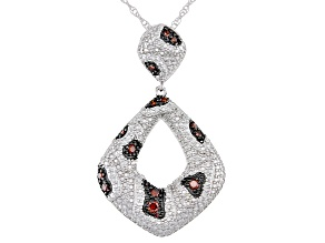 Pre-Owned Red Diamond Rhodium Over Sterling Silver Statement Pendant With 18 Inch Rope Chain 0.25ctw
