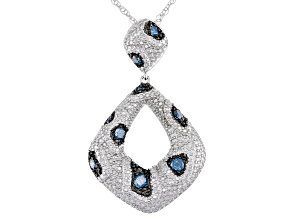 Pre-Owned Blue Diamond Rhodium Over Sterling Silver Statement Pendant With 18 Inch Rope Chain 0.25ct