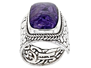 Pre-Owned Charoite Sterling Silver Solitaire Ring