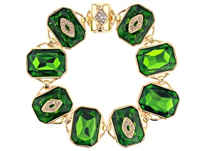 Pre-Owned Gold Tone Green Crystal Bracelet