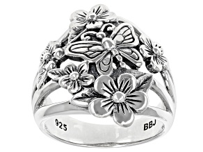 Pre-Owned Sterling Silver Flower & Butterfly Ring