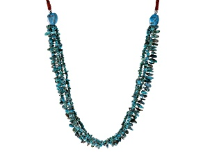 Pre-Owned Blue Turquoise Chips Rhodium Over Silver Multi Strand Necklace