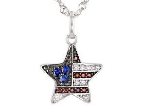 Pre-Owned Red, White, and Blue Cubic Zirconia Rhodium Over Sterling Silver Star Pendant With Chain 0