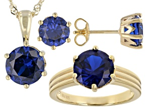 Pre-Owned Blue Lab Created Spinel 18k Yellow Gold Over Sterling Silver Jewelry Set 8.59ctw