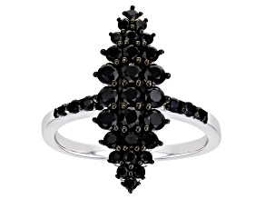 Pre-Owned  Black Spinel Rhodium Over Silver Ring 1.26ctw