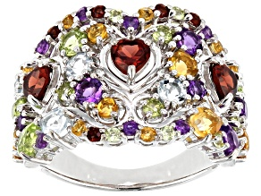 Pre-Owned Multi-color gemstone Rhodium Over Sterling Silver Band Ring 3.28ctw