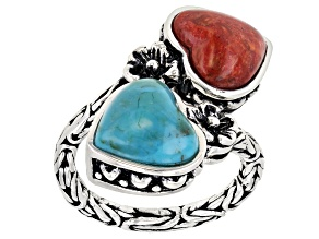 Pre-Owned Turquoise and Coral Rhodium Over Sterling Silver 2-Stone Bypass Ring