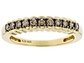 Pre-Owned Champagne Diamond 14k Yellow Gold Over Sterling Silver Band Ring 0.25ctw