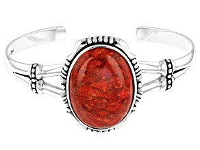 Pre-Owned Coral Rhodium Over Silver Cuff Bracelet