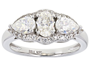 Pre-Owned Fabulite Strontium Titanate and white zircon rhodium over sterling silver ring 1.77ctw.