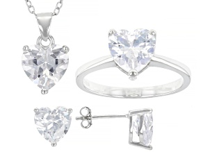 Pre-Owned White Cubic Zirconia Rhodium Over Sterling Heart Earrings, Ring, And Pendant With Chain 10