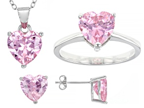 Pre-Owned Pink Cubic Zirconia Rhodium Over Sterling Silver Heart Earrings, Ring, And Pendant With Ch