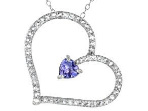 Pre-Owned Blue Tanzanite Rhodium Over Sterling Silver heart Pendant With Chain 0.84ctw