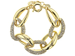 Pre-Owned Gold Tone Pave Crystal Link Bracelet