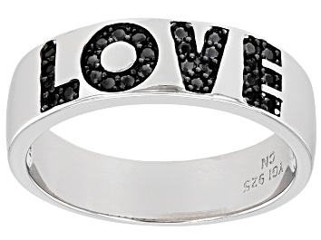 "Picture of Pre-Owned Black Spinel Rhodium Over Sterling Silver ""Love"" Band Ring 0.18ctw"
