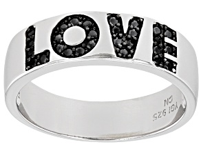 "Pre-Owned Black Spinel Rhodium Over Sterling Silver ""Love"" Band Ring 0.18ctw"