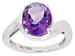 Pre-Owned Purple Amethyst Rhodium Over Sterling Silver Solitaire ring 2.72ct