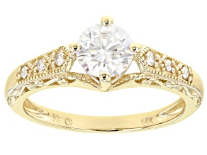 Pre-Owned Moissanite 14k Yellow Gold Ring .88ctw DEW.