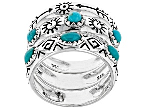 Pre-Owned Turquoise Rhodium Over Silver Stackable Ring Set Of Three