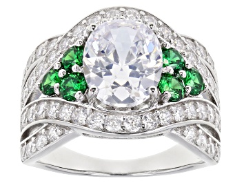 Picture of Pre-Owned Green And White Cubic Zirconia Rhodium Over Sterling Silver Ring 7.60ctw