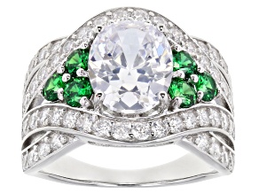 Pre-Owned Green And White Cubic Zirconia Rhodium Over Sterling Silver Ring 7.60ctw