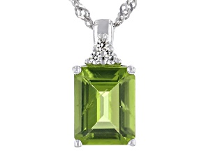 Pre-Owned Green Peridot Rhodium Over Silver Pendant With Chain 2.22ctw