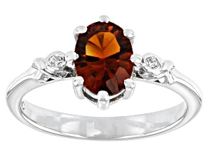 Pre-Owned Orange Citrine Rhodium Over Sterling Silver Ring 0.96ctw