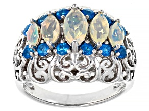Pre-Owned Multi-color Opal Rhodium Over Sterling Silver Ring 1.16