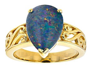 Pre-Owned Multicolor Australian Opal Triplet 18k Yellow Gold Over Sterling  Silver Ring