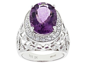 Pre-Owned Purple Fluorite And White Zircon Sterling Silver Ring 6.23ctw