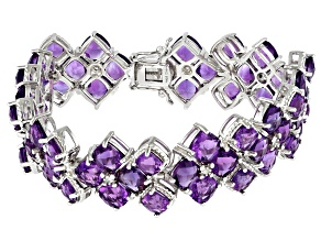 Pre-Owned Purple Amethyst Rhodium Over Sterling Silver Bracelet 40.20ctw
