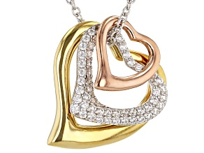 Pre-Owned White Cubic Zirconia Rhodium And 18K Yellow And Rose Gold Over Sterling Silver Pendant Wit