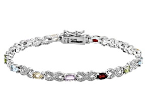 Pre-Owned Multi Gemstone Rhodium Over Sterling Silver Station Bracelet 2.90 ctw