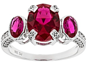 Pre-Owned Lab Created Ruby and White Cubic Zirconia Rhodium Over Sterling Silver Ring 4.44ctw