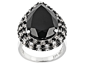 Pre-Owned Pear Shape and Round Black Spinel with White Topaz Rhodium Over Silver Ring 14.66ctw