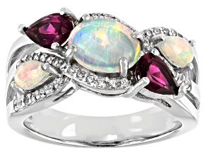 Pre-Owned Multicolor Opal Rhodium Over Sterling Silver Ring 2.51ctw